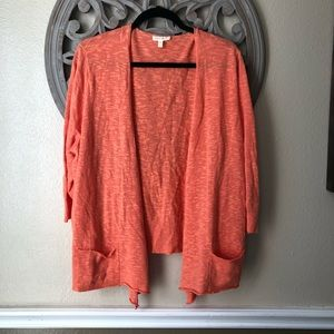 Eileen Fisher dark Coral orange cardigan